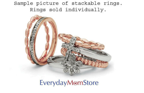 Silver Stackable 2.25 mm Heart w//Bow Ring /& Diamonds Rhodium-plated QSK329