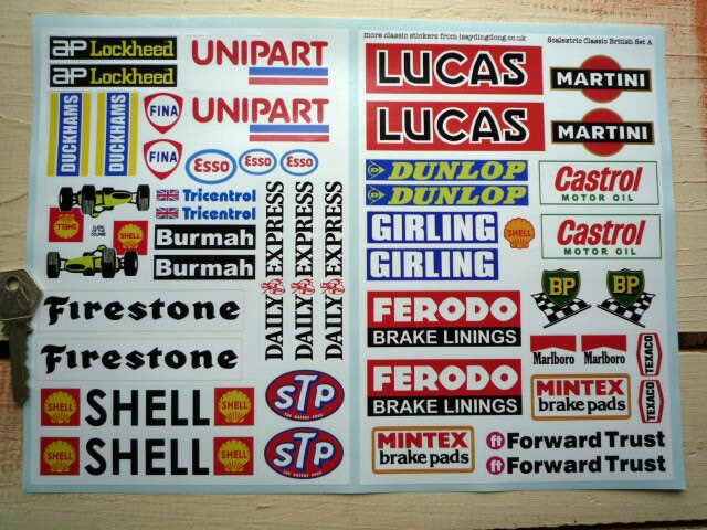 SCALEXTRIC Model Slot Racing Car STICKERS Classic Trackside Barrier Buildings
