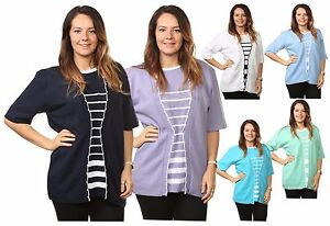 Ladies-Womens-Striped-TwinSet-Knitted-Cardigans-Sweaters-Jumpers-Tops-Plus-Sizes