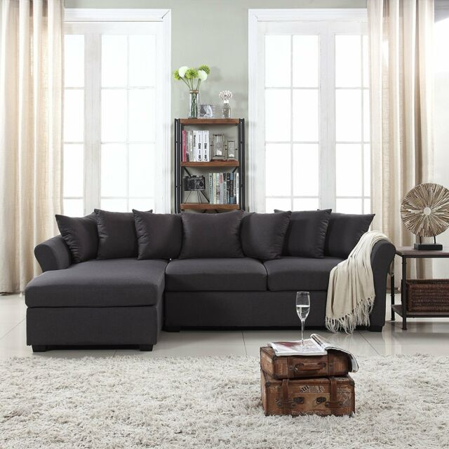 Soft Linen Fabric Sectional Sofa, L-Shape Couch with Extra Wide Chaise Dark  Grey