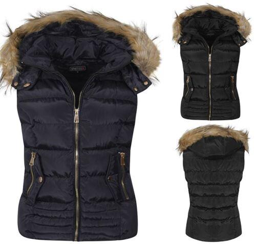 Femme veste sans manches capuche doublée en fausse fourrure veste sans manches bleu marine noir taille manteau veste uk s-xl