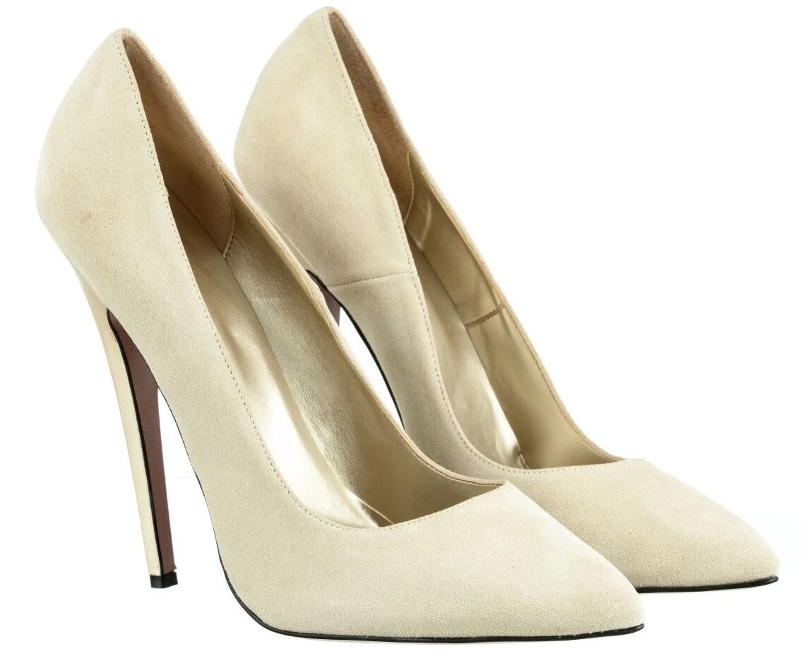 MORI MADE IN ITALY SKY HIGHEST HEELS PUMPS SCHUHE SUEDE LEATHER BEIGE NUDE 45