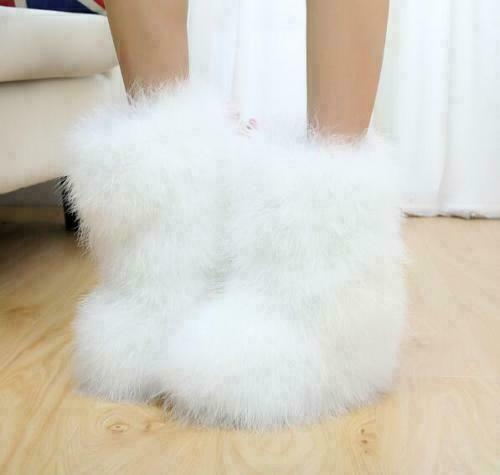 Womens Warm Soft Fluffy Faux Fur Pull On Furry Ankle Boots Winter Snow Shoes NEW