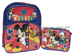 ec3b03342e29 MICKEY MOUSE BACKPACK   LUNCH BOX SET! BLUE RED BOYS SCHOOL 16