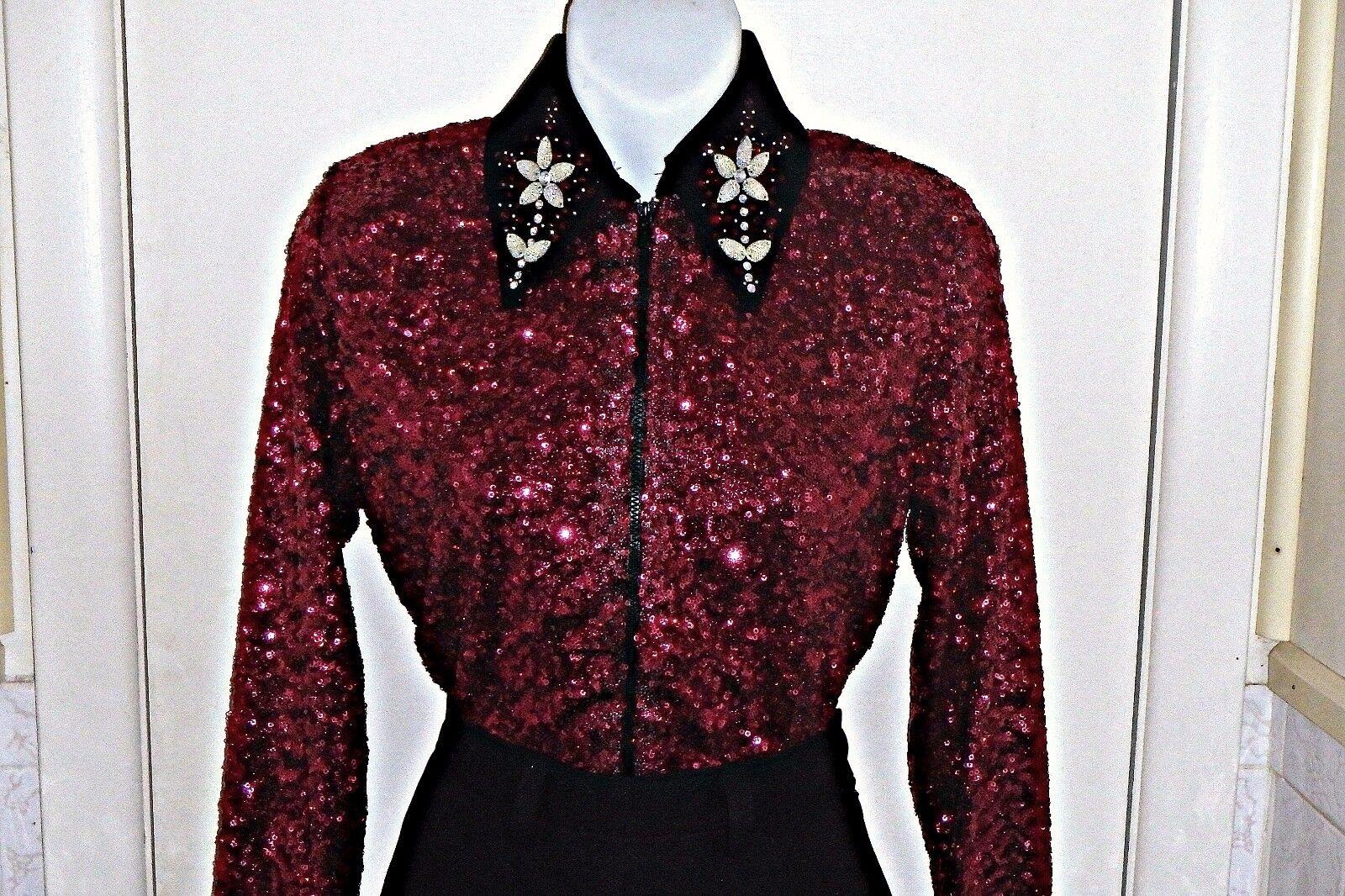Girls Burgundy Sequin Western Rail, Pleasure, Rodeo, Trail, Queen, Glamour Shirt