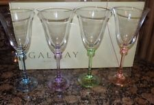 GALWAY IRISH CRYSTAL 4 X LIBERTY  WHITE WINE GOBLET  GLASSES MULTI STEMS