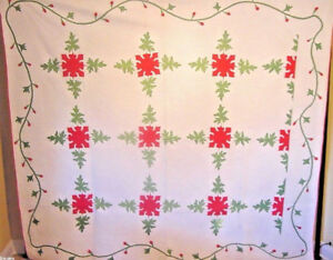 MASTERPIECE-ANTIQUE-RED-AND-GREEN-APPLIQUE-QUILT