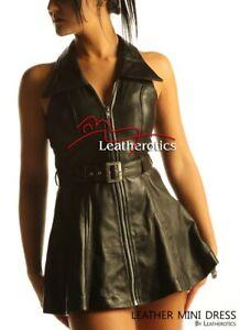 Sexy-Black-Leather-Sleeveless-Mini-Dress-Top-MD78