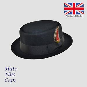 100/% Wool Black Trilby Handmade Crushable Fedora Hat