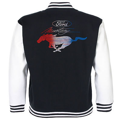 Klug Ford Mustang Baseball Varsity Jacket American Classic Pony Vintage V8 Muscle Car Schrumpffrei