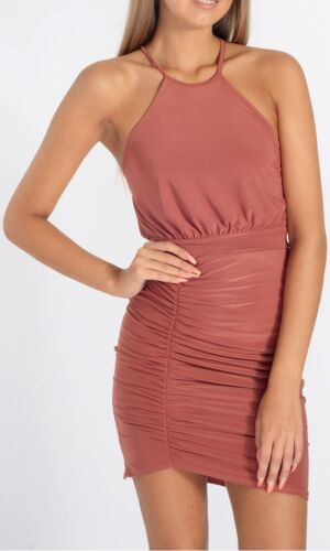 New Ladies Women High Neck Slinky Ruched Bodycon Dress