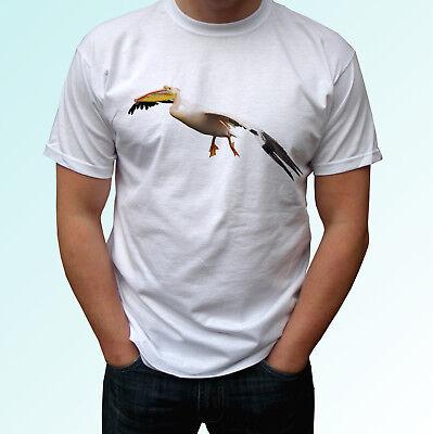 Pelican white t shirt animal tee top bird design mens womens kids baby sizes