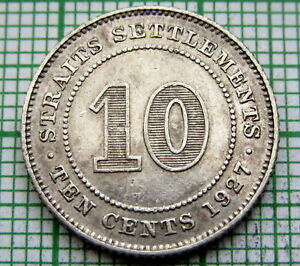 MALAYSIA-STRAITS-SETTLEMENTS-GEORGE-V-1927-10-CENTS-SILVER-HIGH-GRADE-LUSTRE