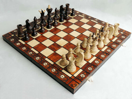 BRAND NEW LARGE BEECH AMBASSADOR WOODEN CHESS SET 52cm