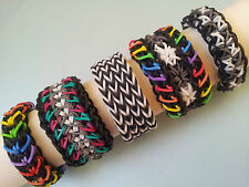 Lot of 5 Rainbow Loom Bracelets - Quadruple Fishtail, Galaxy, Starburst etc..