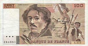 100 Fr Delacroix A 213 1993 Sans Accent E De Secrétaire Ttb + Nefw14h5-08002725-147524538