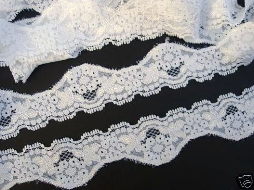 SALE~10 yards Elastic//Spandex 4cm White Floral Soft Stretch Lace Trim//Dress T105