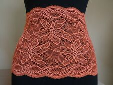 French elastic Lace from Calais in Lobster,Koral orange 22cm wide