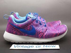 827f122008cb Girls  Nike Roshe Run Print Hyper Pink Cobalt Running 677784-600 GS ...