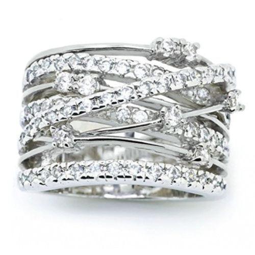 Women Luxury 925 Silver Jewelry Wedding Rings White Sapphire Ring Size 6-10