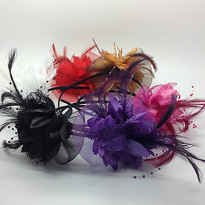 Pretty  Large Flower WITH BOW With Feathers  HEADBAND BRIDAL BRIDESMAIDS