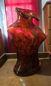 LARGE HAND BLOWN VASE MURANO STYLE WOMAN BUST TORSO NECKLACE HOLDER VINTAGE RARE