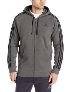 adidas-Men-039-s-Athletics-Essential-Cotton-Fleece-Full-Zip-Dark-Grey-Heather-Black