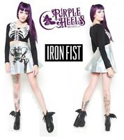 Iron Fist Wishbone Iridescent Silver Shimmer Halo Skeletal Skirt Size Small