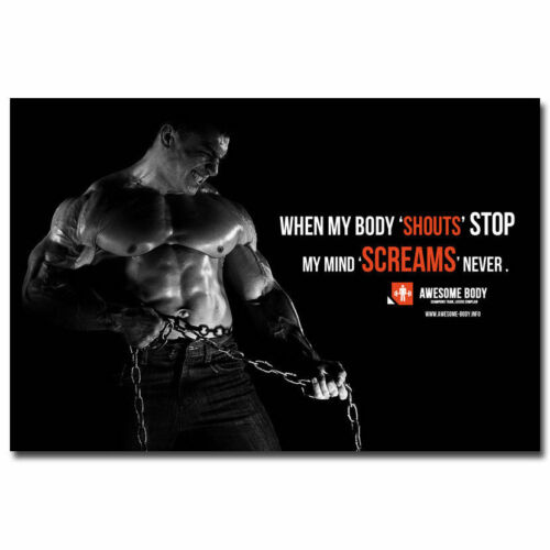 N-216 Bodybuilding Fitness Motivational Silk Poster 12x18 24x36 27x40