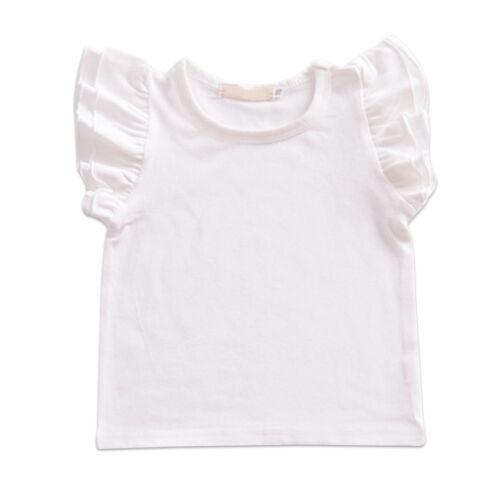 Baby Kids Girls Ruffle T Shirt Flutter Sleeve Tank Top Summer Blank Tee Blouse