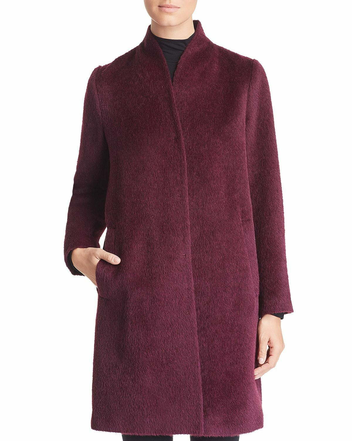 EILEEN FISHER Stand Collar Textured Knee Length Coat Raisinette Sz XLRG Peru NWT