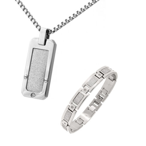 Mens Stainless Steel White Accent Bracelet Cz Stones Mens Dog Tag /& Bracelet Set