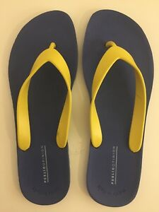 5afc5e29f Public Opinion Brighton Flip-Flop Blue Yellow Sandal Italy Men s Sz ...