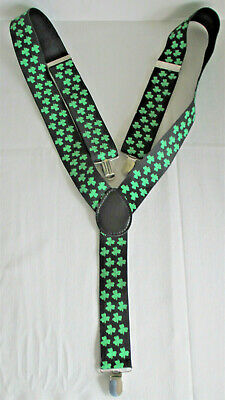 Irish Shamrock Ireland Green White Novelty Trouser Braces Suspenders