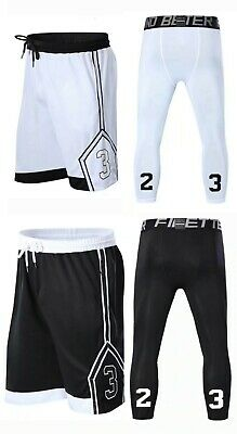 2pc Set Men/'s Shorts /& Tights Basketball Athletic Men Breathable Sportswear Gym