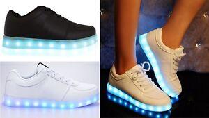 Senoras-para-mujer-Luz-Led-Luminoso-lazada-formadores-celebridad-Zapatillas-Zapatos-Talla
