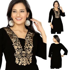 UNIFIEDCLOTHES-Top-Women-Tunic-Short-Kurti-Indian-Dress-Embroidery-BH125-Black