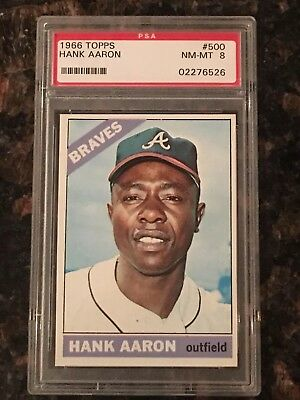 1966 Topps Hank Aaron Atlanta Braves 500 Baseball Card