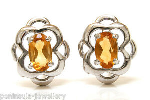 Sterling Silver Citrine Studs Celtic Earrings Made in UK Boxed