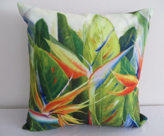 Tropical Bird of Paradise Painting European Cushion Cover 60cm Pillow Case
