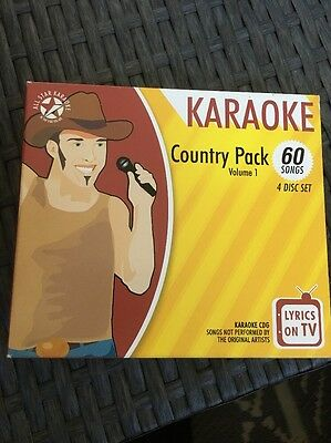 """All Star Karaoke """" Vol 1 Country Pack 60 Songs Musical Instruments & Gear 4 Disc Set"""