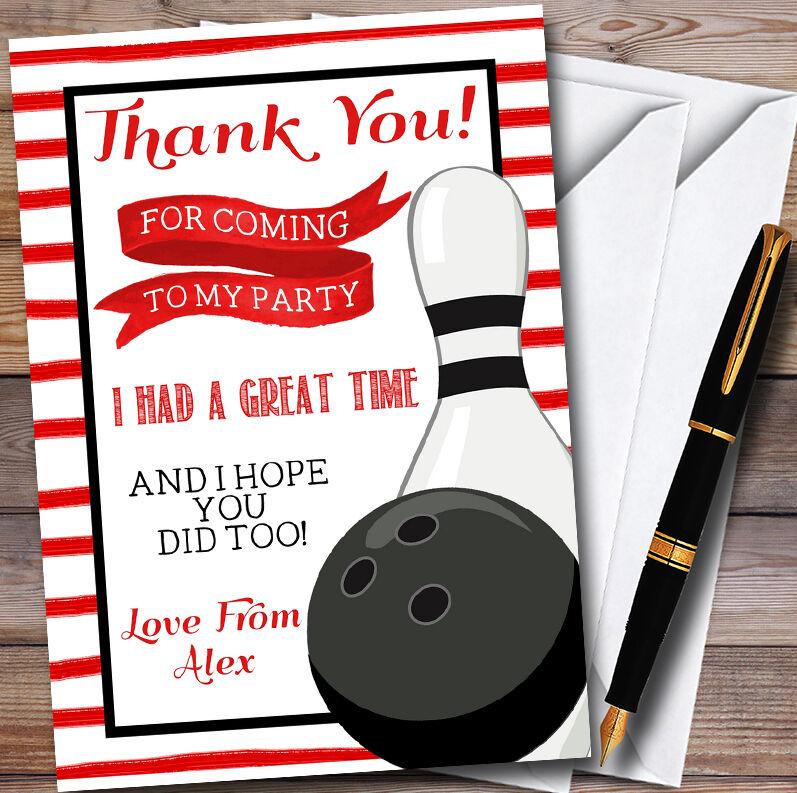rosso Stripe BOWLING PALLA & pin personalizzati personalizzati personalizzati PARTY CARTOLINE di ringraziamento dd0f6f