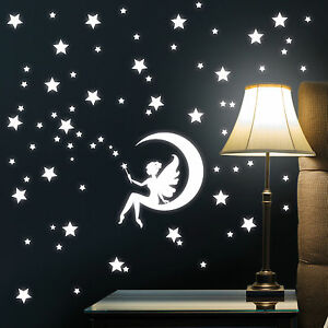 10926 sticker mural f e lune avec etoiles lumineux fluorescent ciel toil ebay. Black Bedroom Furniture Sets. Home Design Ideas