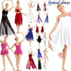 Lyrical-Women-039-s-Asymmetric-Chiffon-Ballet-Dance-Dress-Performance-High-Low-Skirt