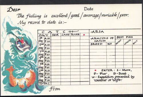 Greetings Message Postcard Angling Tickacards  MB252 Record of Fishing