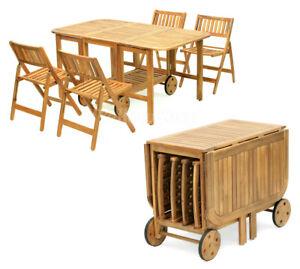 Tavolo In Legno Con Sedie Da Giardino.Set Tavolo Pieghievole Legno Con 4 Sedie Giardino Piscina Esterno