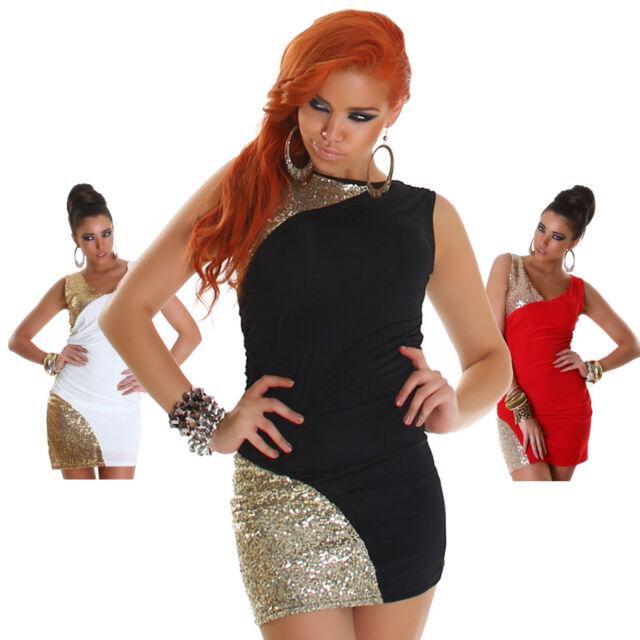 Kleid mini elegant Träger Pailletten Einheitsgröße 34 36 38 Kleid Party GoGo neu