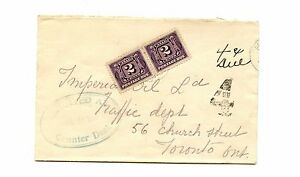 1930 LARGE 4 CENTS DUE  Postage DUE #J2 Pair  cover Canada