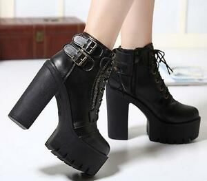Women-Lady-New-Gothic-Lace-Up-Punk-Platform-Chunky-High-Heel-Ankle-Boots-Shoes