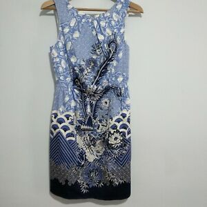 Oasis-marineblau-und-weiss-aermellos-Kleid-verziert-Groesse-10-UK-Abstrakt-NEU